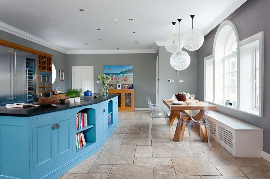 Kitchen with angled Island
