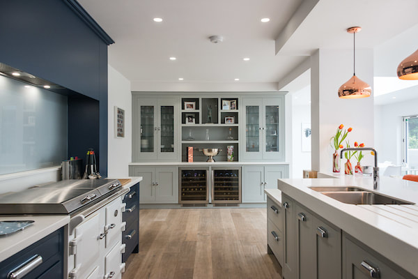 Christopher Howard kitchen handpainted in Grey and Navy.