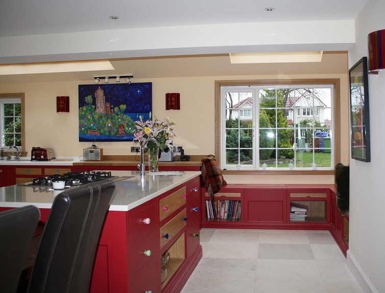 Christopher Howard kitchen painted in Farrow & Ball Rectory Red