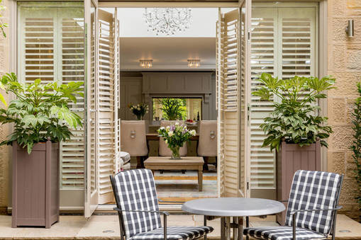Kitchen with plantation shutters
