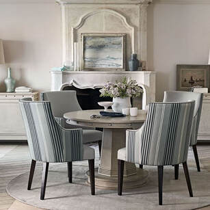 Dining chairs in Romo French Blue